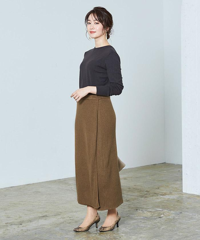 ラップロングニットスカート2