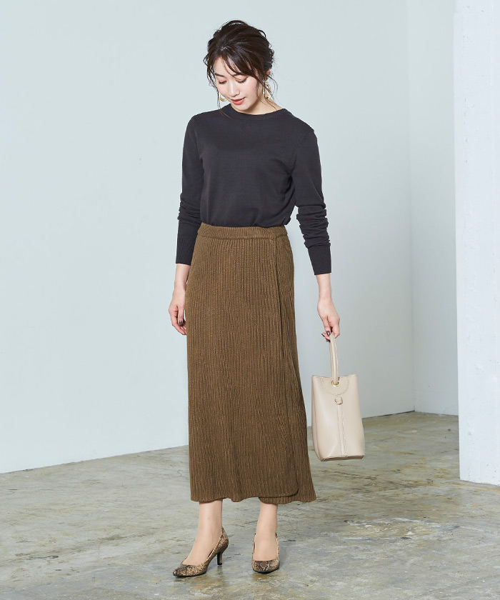 ラップロングニットスカート1