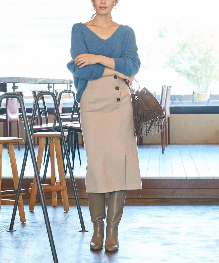 サイドボタンタイトスカート3