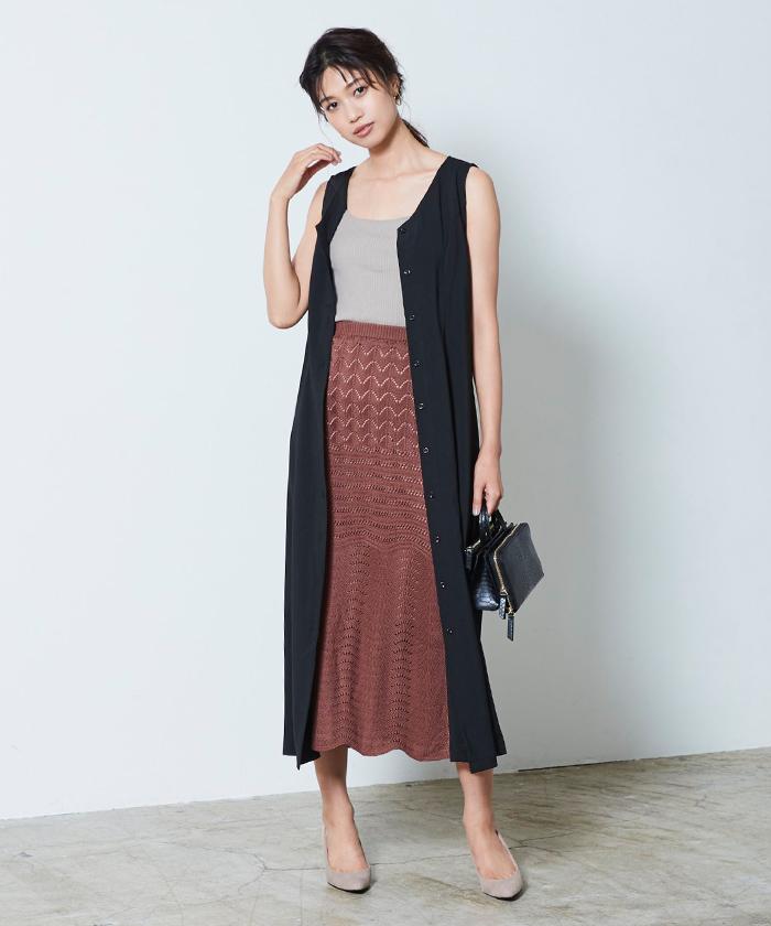 透かし編みニットスカート1