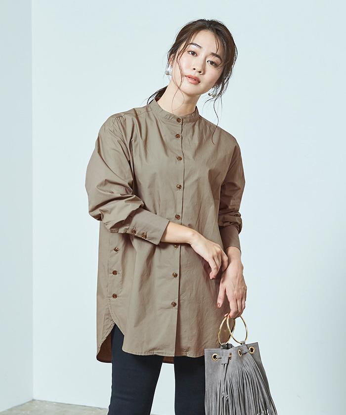 釦デザインロングシャツ4