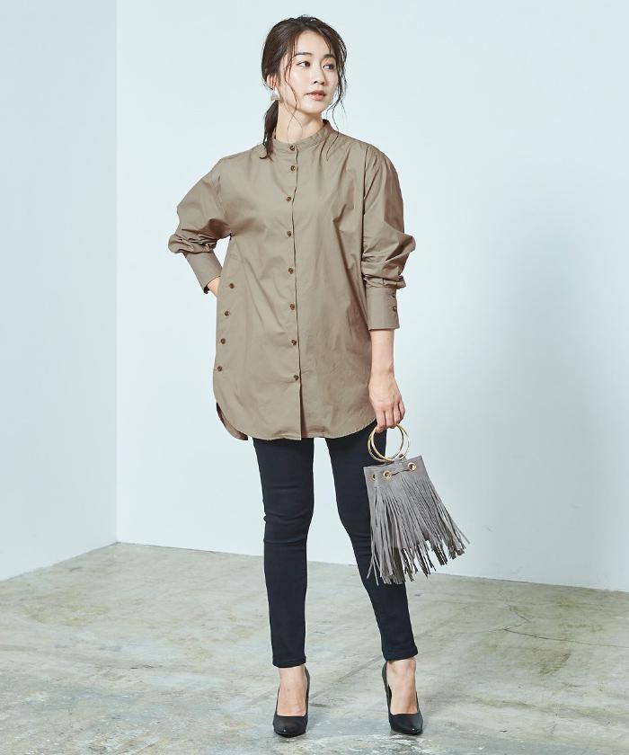 釦デザインロングシャツ1