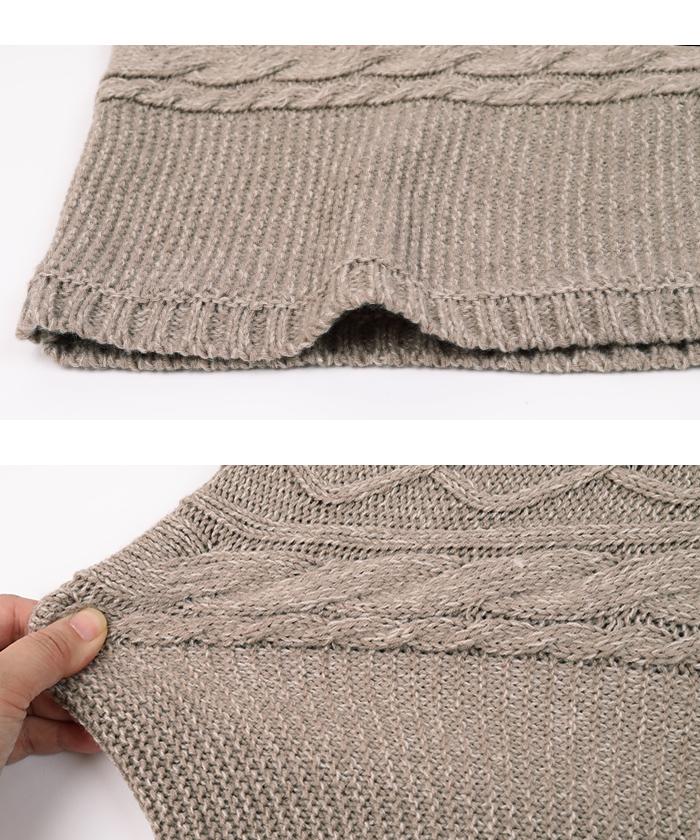 ケーブル編みクロップド丈ニット15