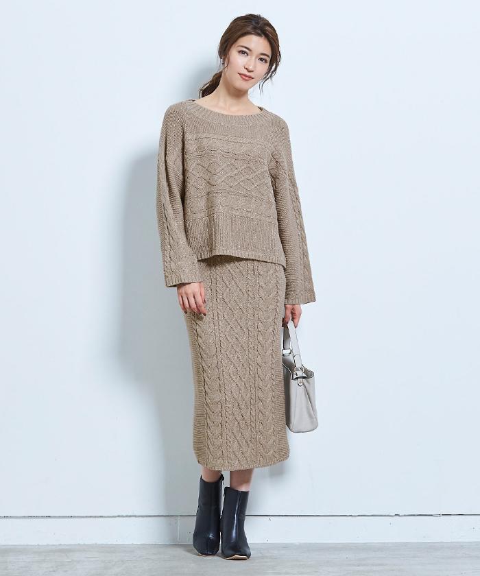 ケーブル編みタイトスカート1