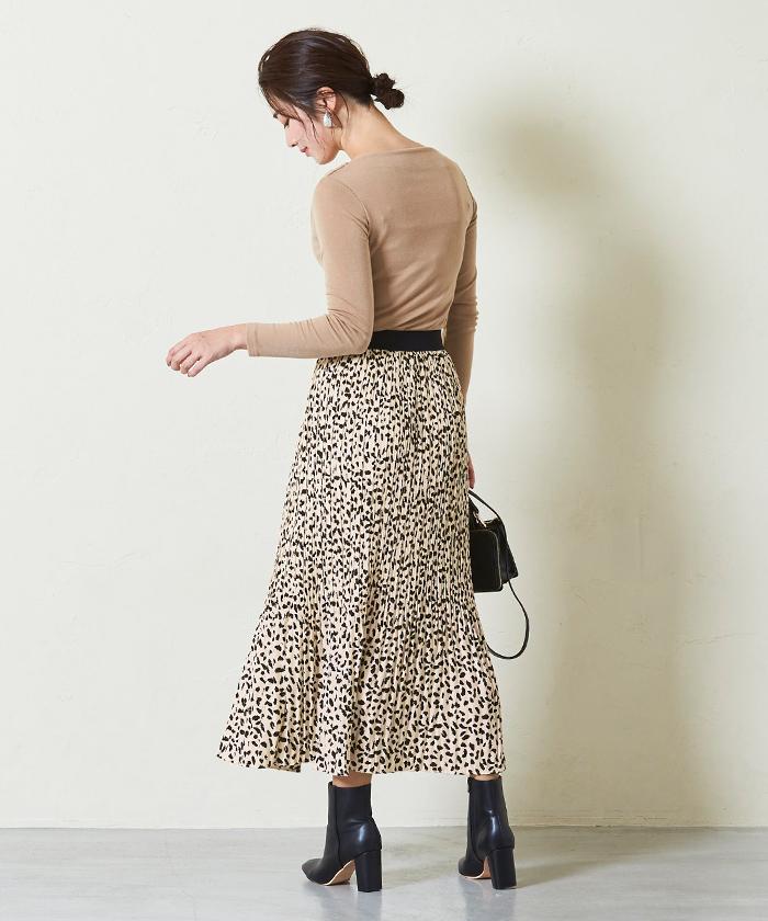 レオパード柄プリーツロングスカート5