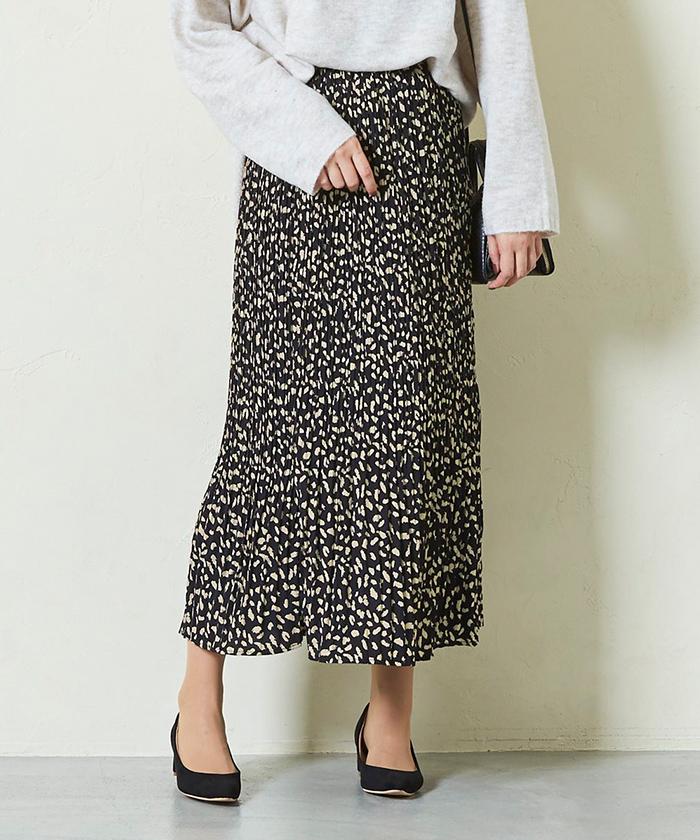 レオパード柄プリーツロングスカート12