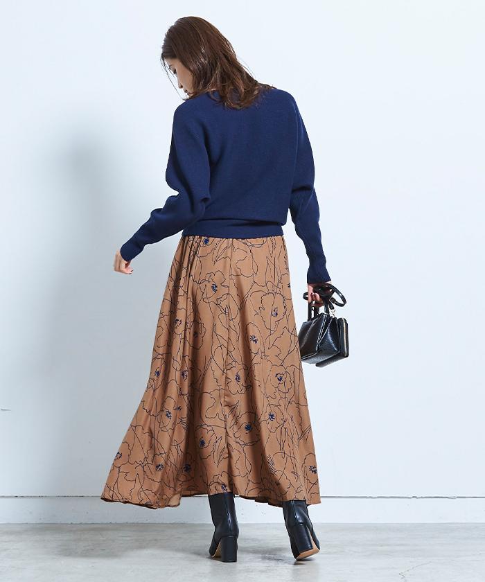 ニュアンスフラワーマキシ丈スカート3