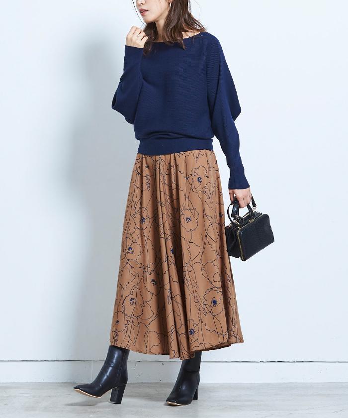ニュアンスフラワーマキシ丈スカート5