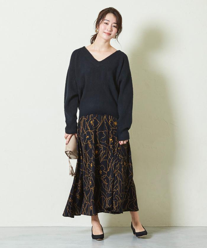 ニュアンスフラワーマキシ丈スカート6