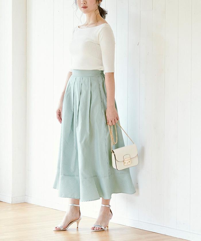 裾切替タックフレアスカート2