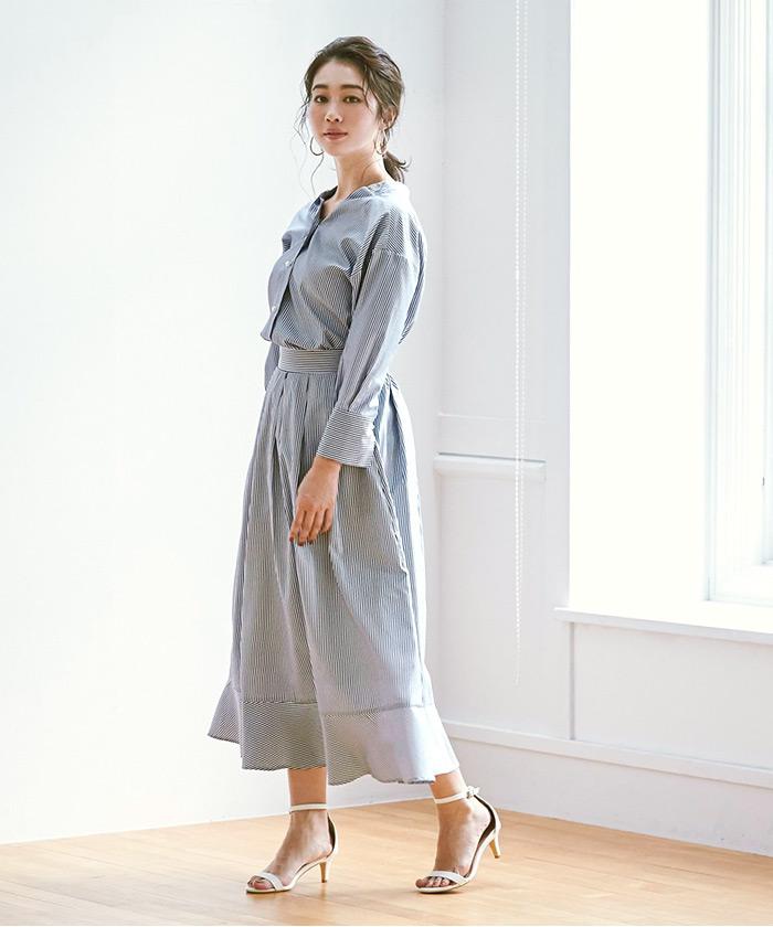 裾切替タックフレアスカート5