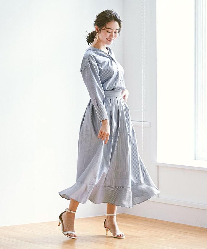 裾切替タックフレアスカート7