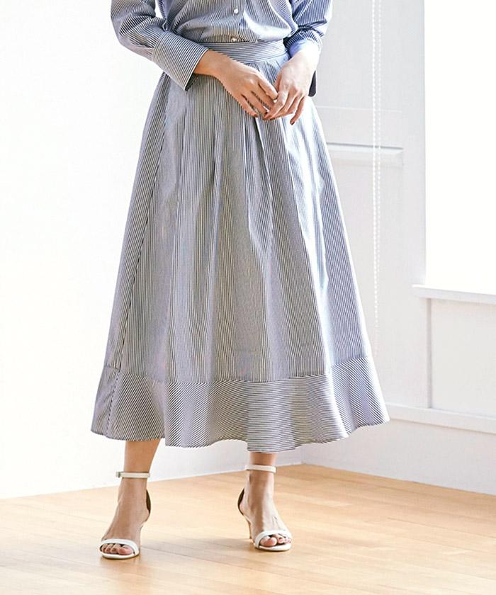 裾切替タックフレアスカート8