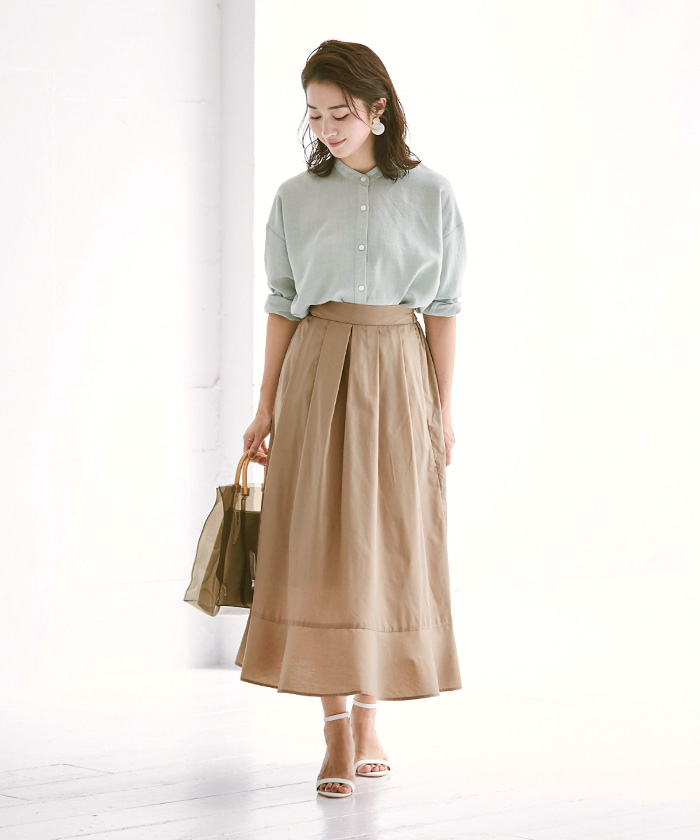 裾切替タックフレアスカート9