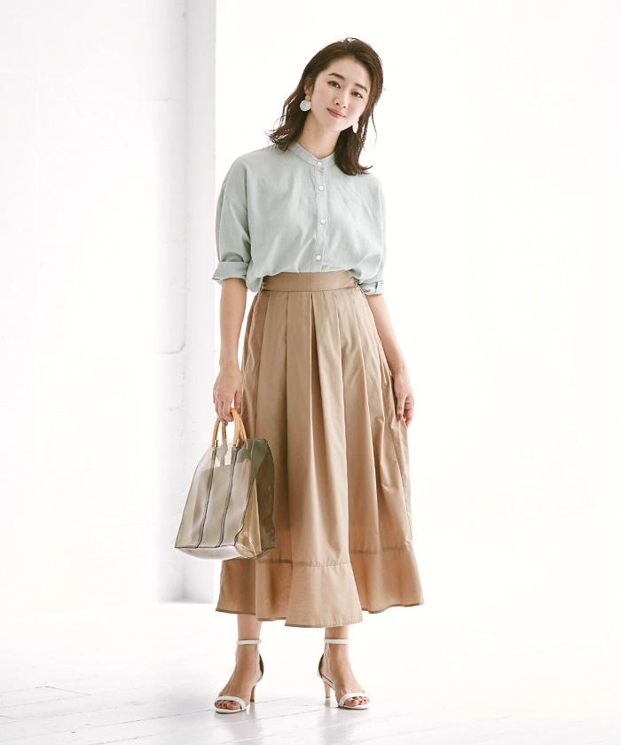 裾切替タックフレアスカート10