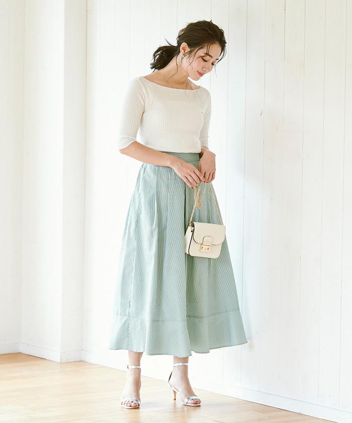 裾切替タックフレアスカート1