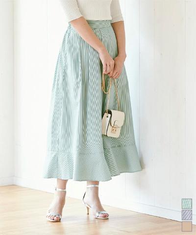 裾切替タックフレアスカート