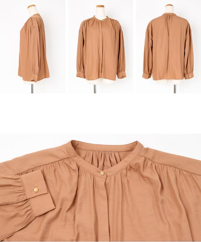 ヴィンテージサテンバンドカラーシャツブラウス14