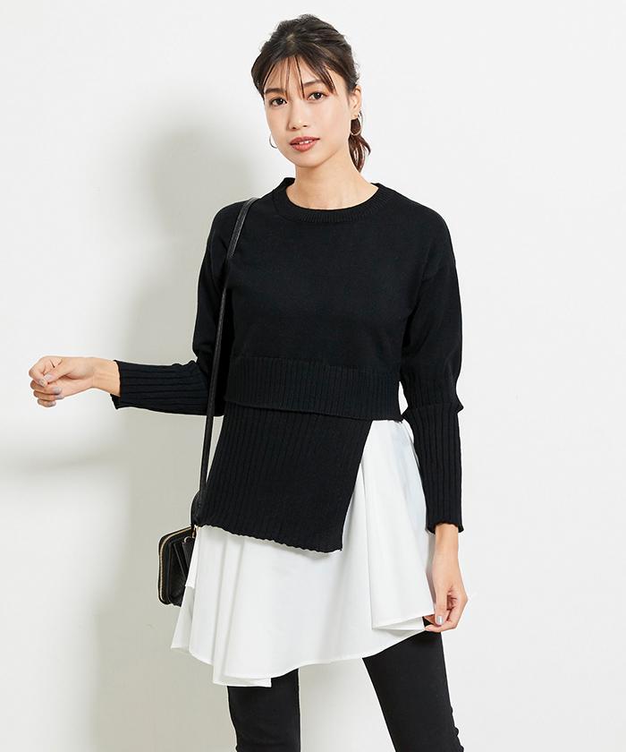裾シャツドッキングチュニック丈ニット5