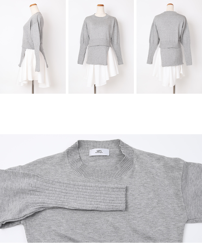裾シャツドッキングチュニック丈ニット14
