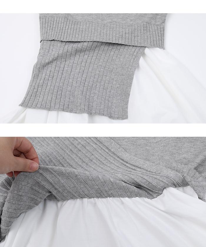 裾シャツドッキングチュニック丈ニット15