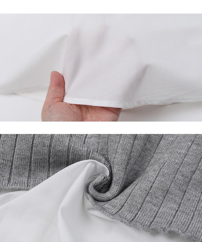 裾シャツドッキングチュニック丈ニット16