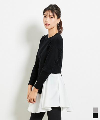 裾シャツドッキングチュニック丈ニット〔人気商品!予約〕