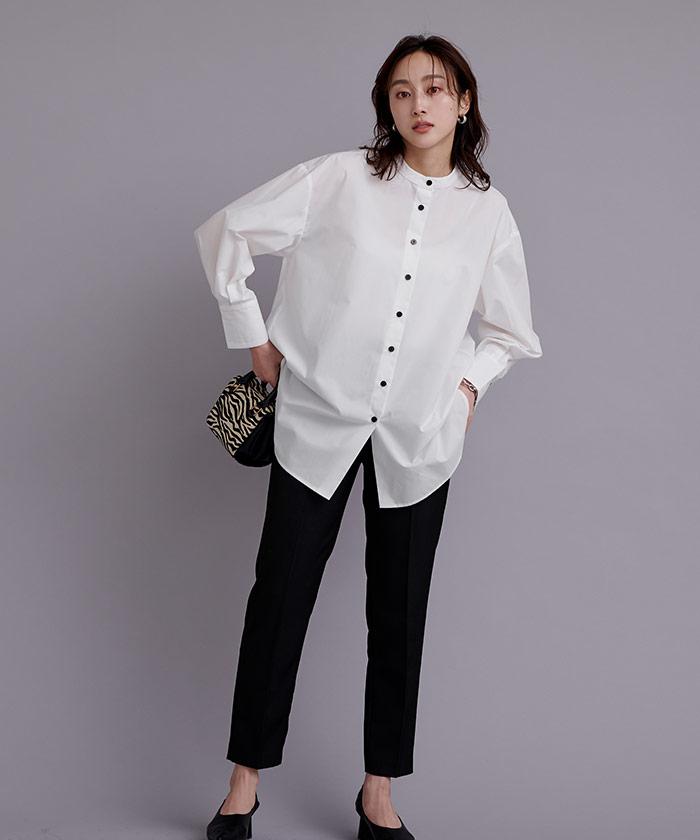釦バックスリットチュニックシャツ3