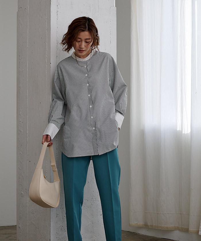 釦バックスリットチュニックシャツ6
