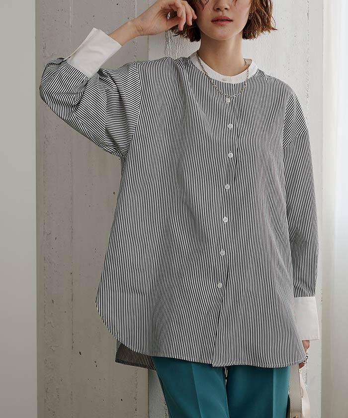 釦バックスリットチュニックシャツ7