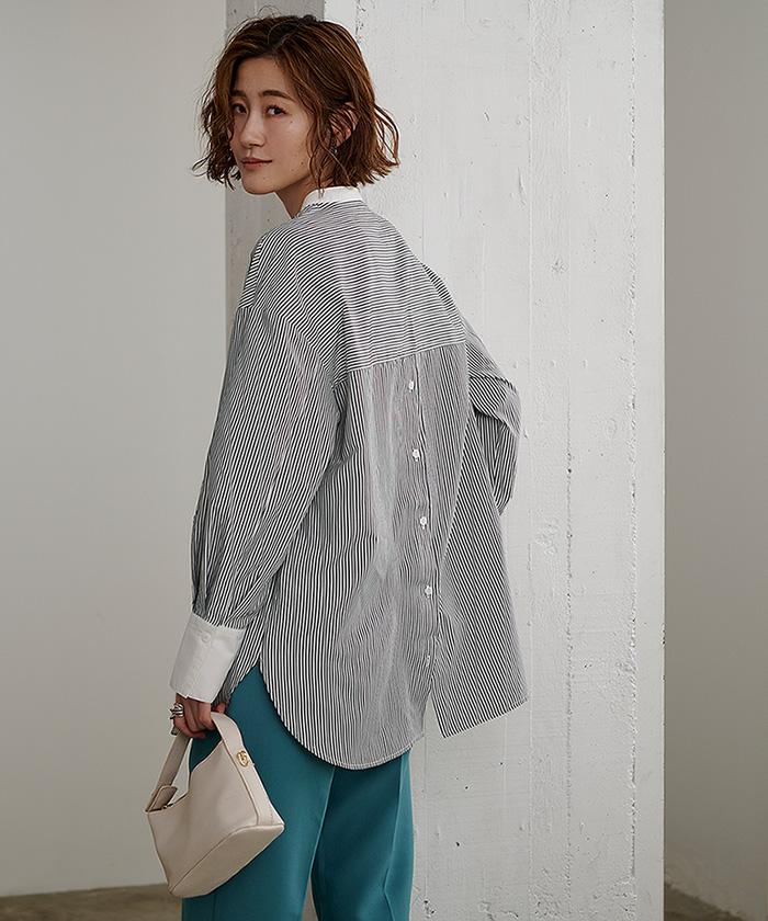 釦バックスリットチュニックシャツ9