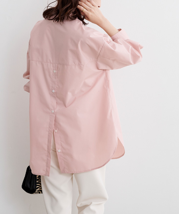 釦バックスリットチュニックシャツ8