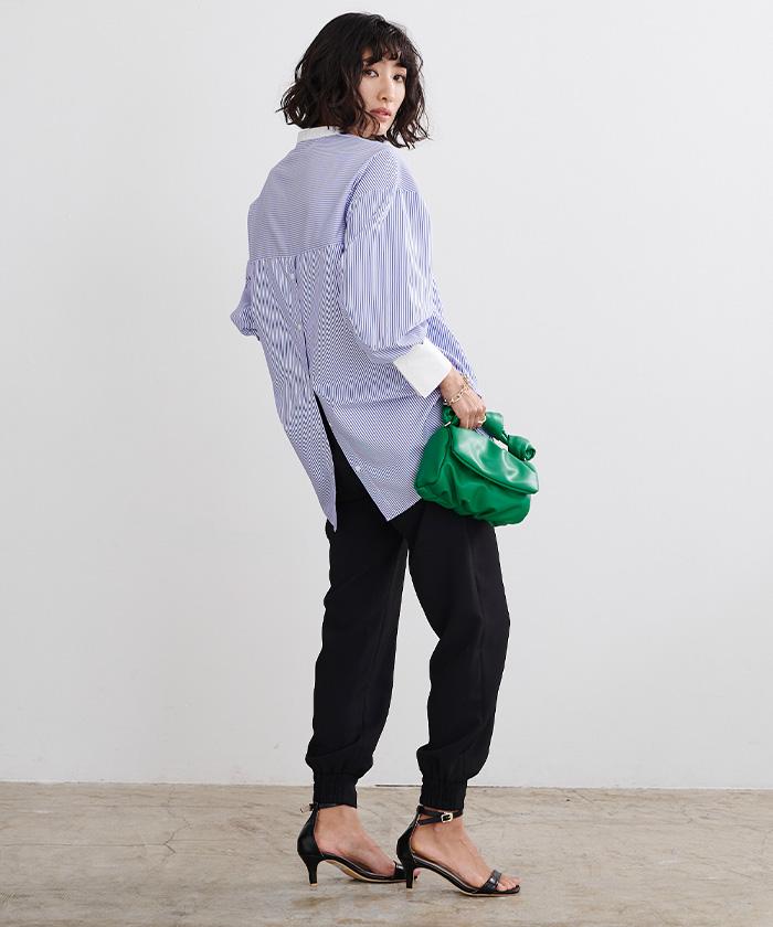 釦バックスリットチュニックシャツ1