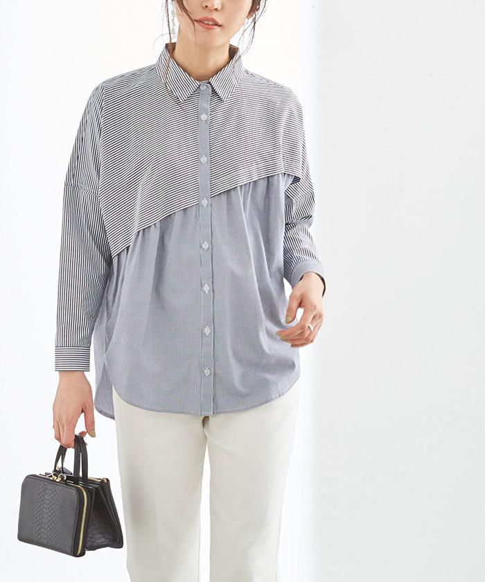 ストライプ変形チュニックシャツ/ブラウス2