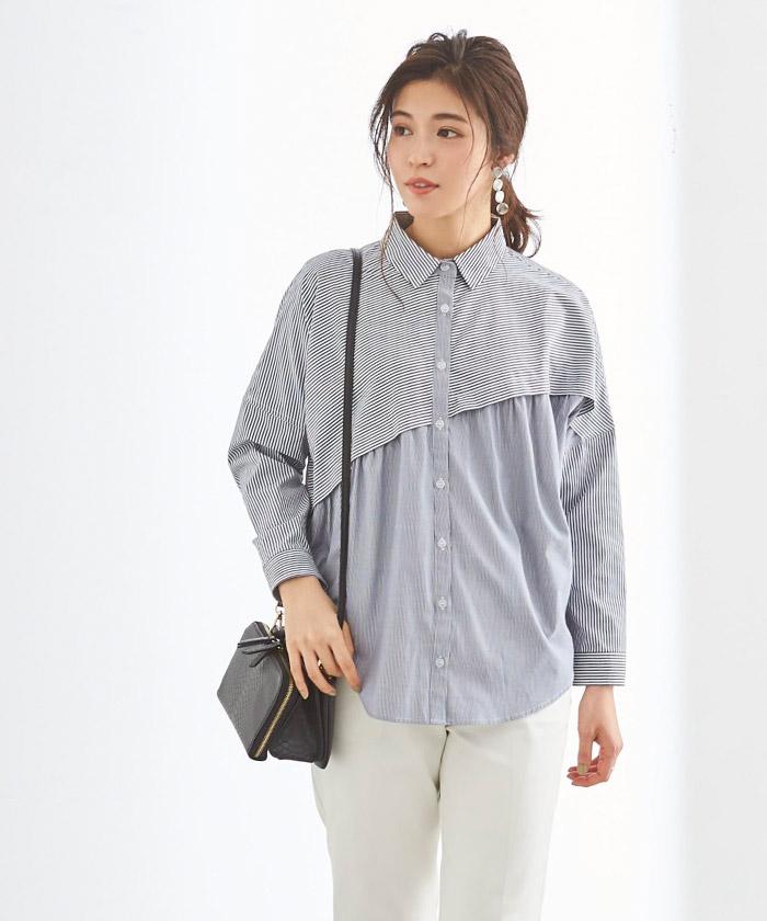 ストライプ変形チュニックシャツ/ブラウス5