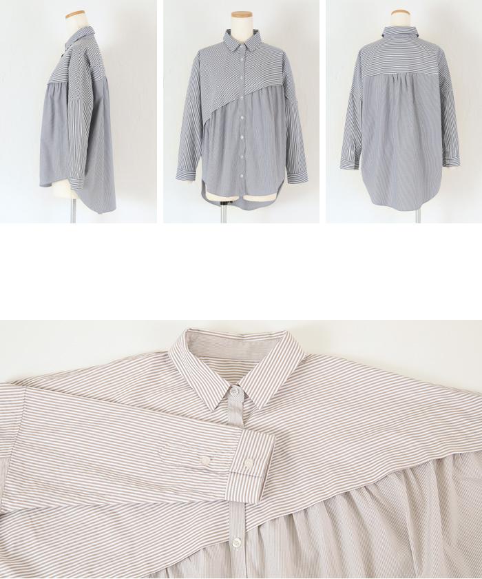 ストライプ変形チュニックシャツ/ブラウス14