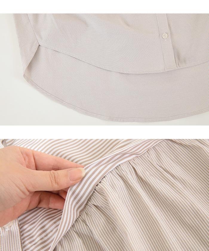 ストライプ変形チュニックシャツ/ブラウス15