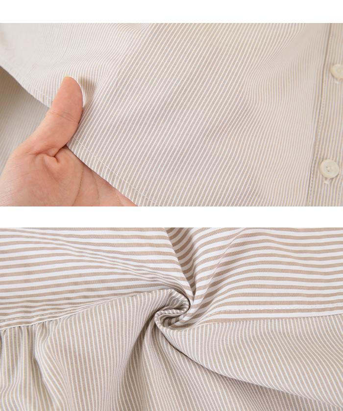 ストライプ変形チュニックシャツ/ブラウス16
