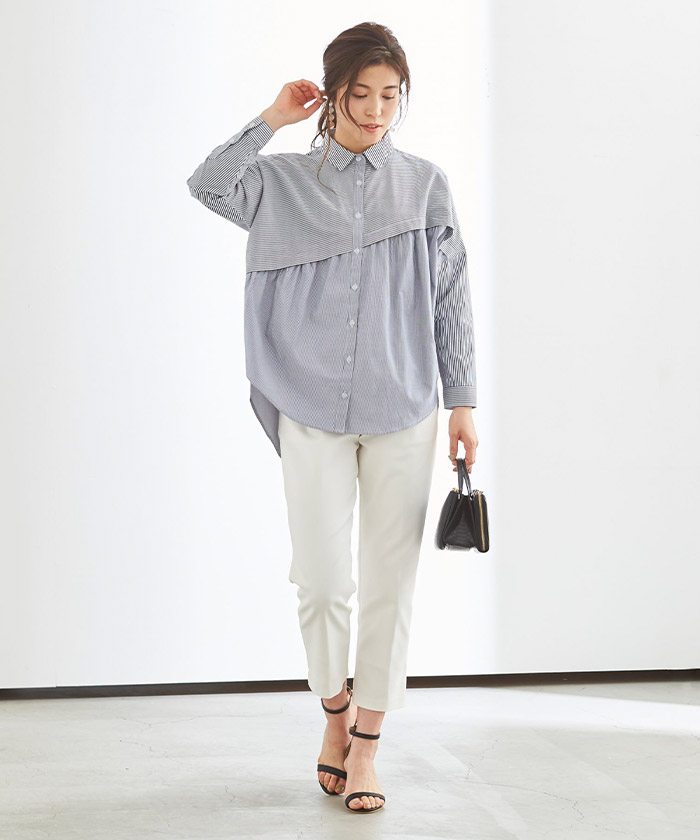 ストライプ変形チュニックシャツ/ブラウス1