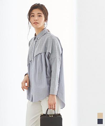 ストライプ変形チュニックシャツ/ブラウス【メール便可/50】