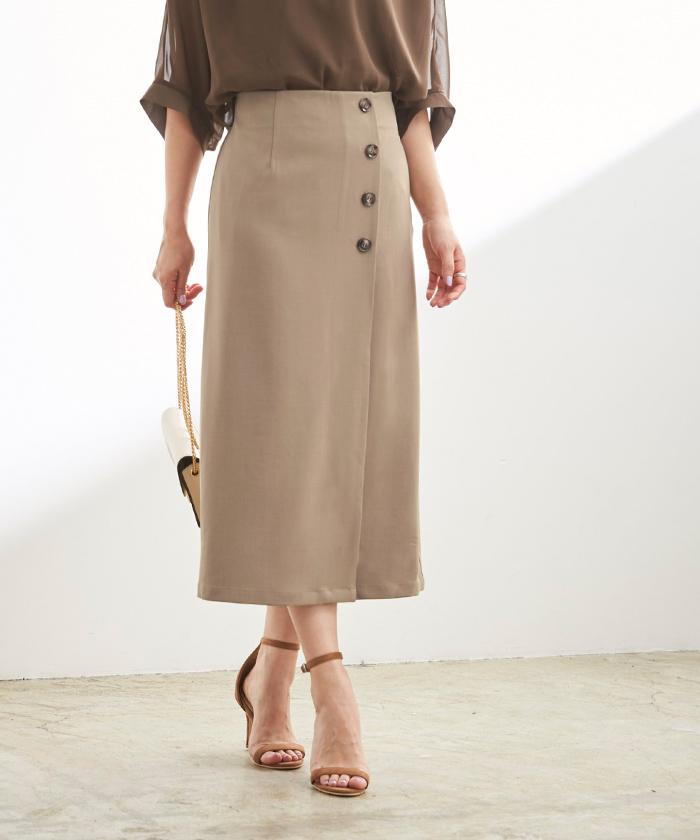 釦デザインラップタイトスカート2