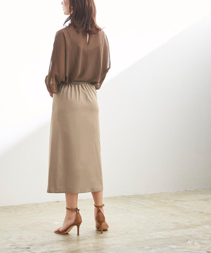 釦デザインラップタイトスカート3