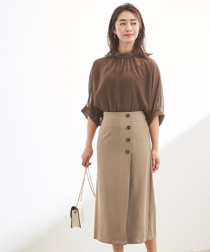 釦デザインラップタイトスカート4