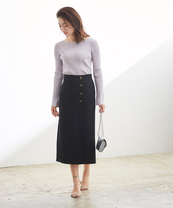 釦デザインラップタイトスカート5