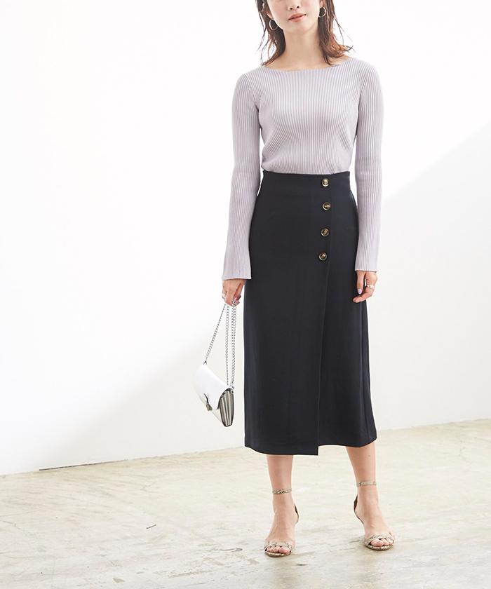 釦デザインラップタイトスカート6