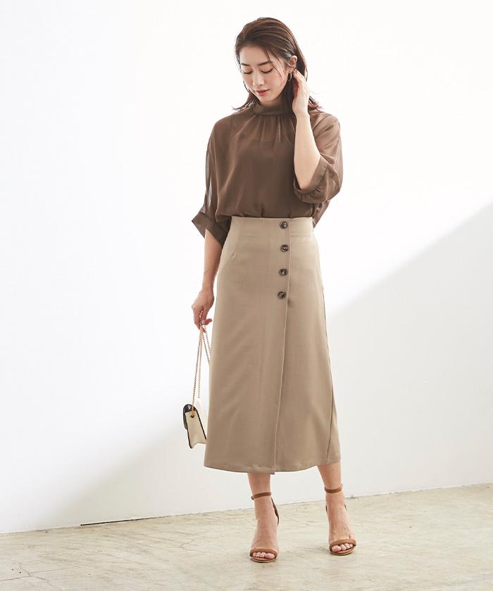釦デザインラップタイトスカート1
