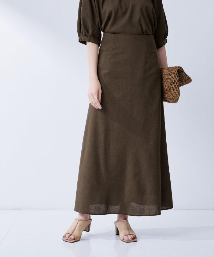 麻混セミフレアスカート12