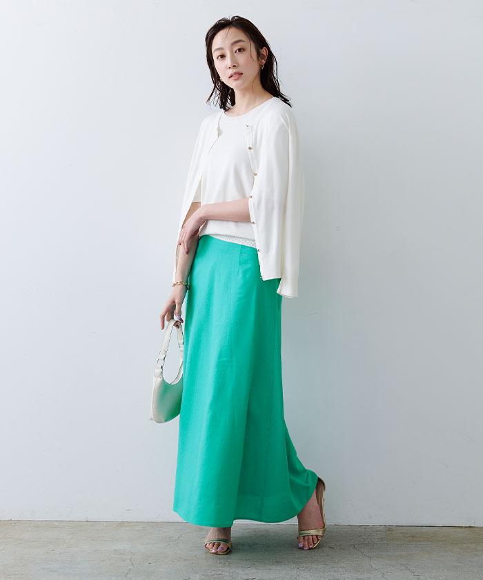 麻混セミフレアスカート1