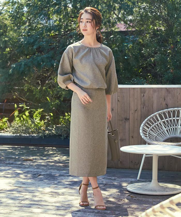 リネンライクタイトスカート1