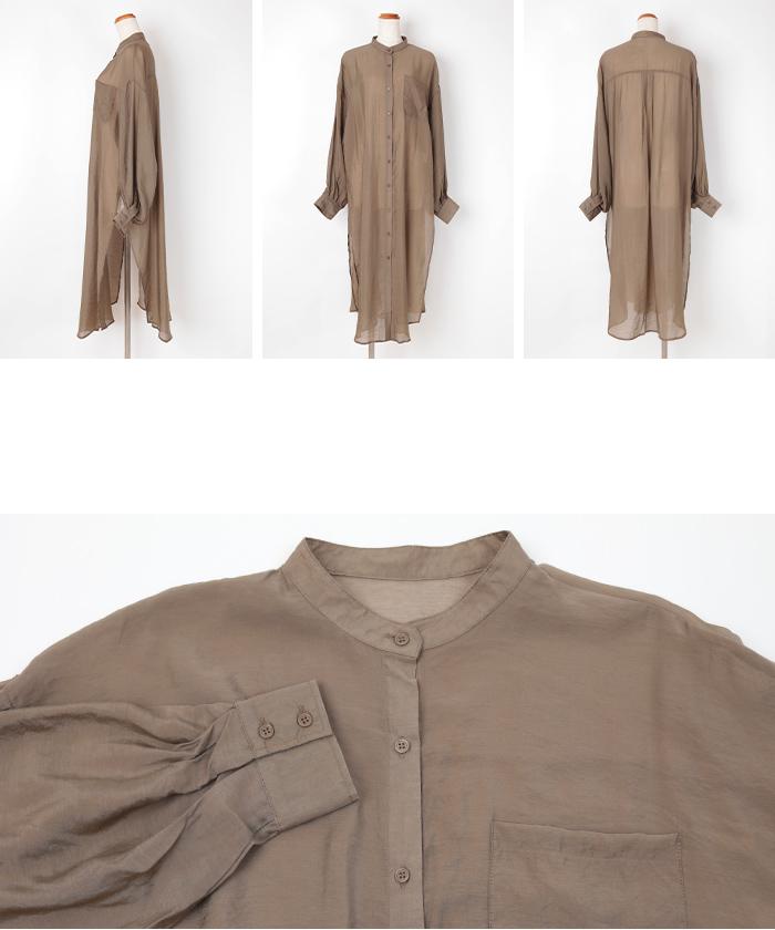 シアーバンドカラーシャツワンピース14